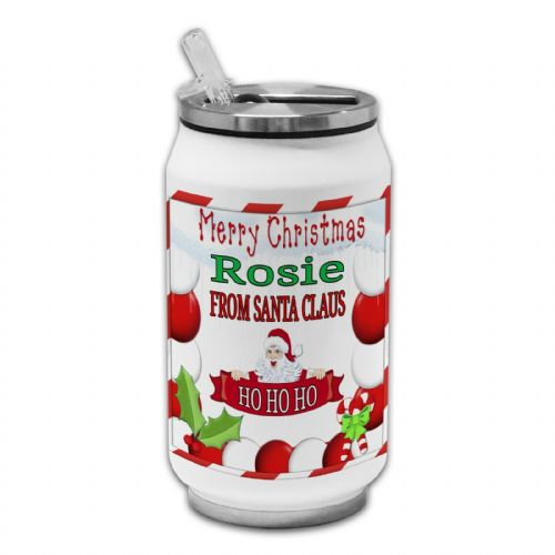 Personalised Any Name Merry Christmas From Santa Claus Thermos Drinking Can
